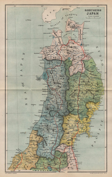 Associate Product JAPAN. North 1907 old antique vintage map plan chart