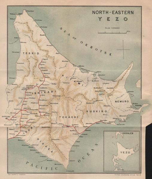 Associate Product JAPAN. Yezo(Hokkaido); North-east 1907 old antique vintage map plan chart