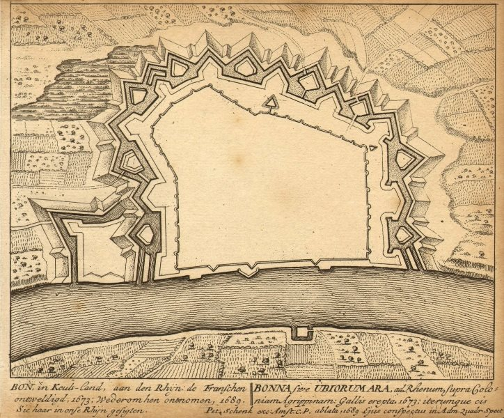 Associate Product BONN IBIORUMARA. Town Plan by Schenk. Scarce. Germany 1710 old antique map