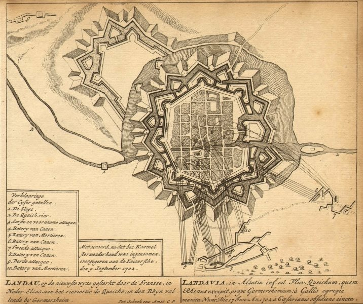 Associate Product LANDAU. Town plan by Schenk. Scarce. Germany 1710 old antique map chart