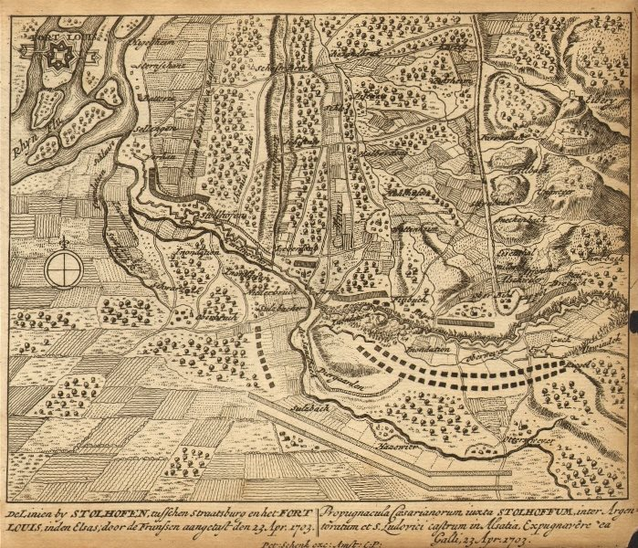 Associate Product STOLLHOFEN. Town plan by Schenk. Scarce. Germany 1710 old antique map chart
