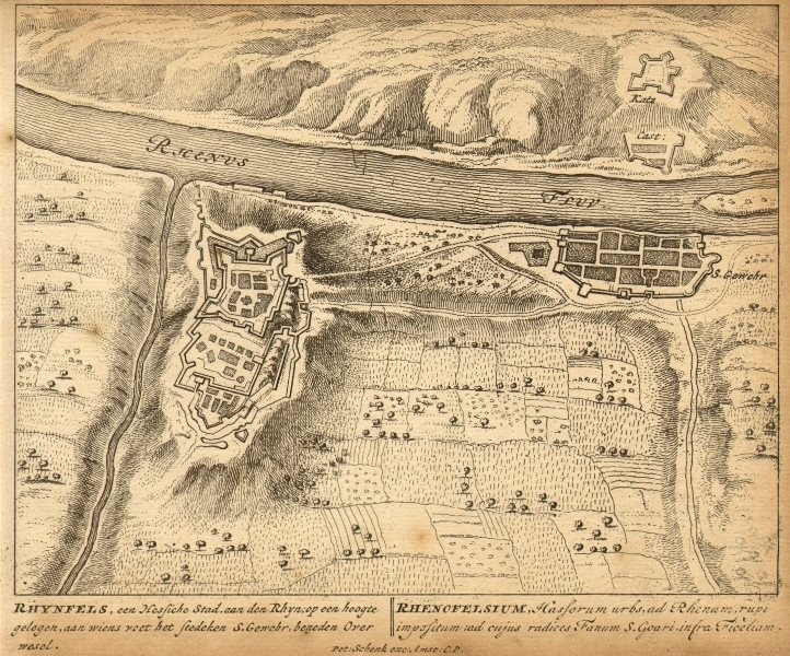 Associate Product RHEINFELS. Town plan by Schenk. Scarce. Germany 1710 old antique map chart