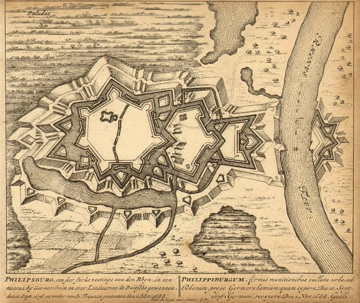 Associate Product PHILIPPSBURG. Town plan by Schenk. Scarce. Germany 1710 old antique map chart