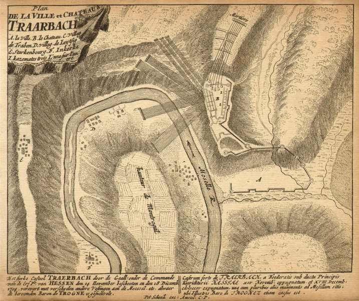 Associate Product TRARBACH. Town plan by Schenk. Scarce. Germany 1710 old antique map chart