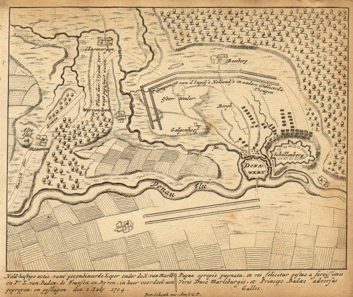 SCHELLENBERG. Donauwörth Marlborough. Germany 1710 old antique map plan chart