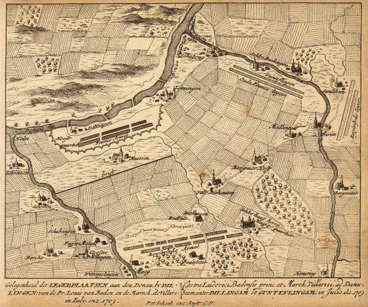 Associate Product DILLINGEN LEGERPLAATS. Schenk town plan.Germany 1710 old antique map chart