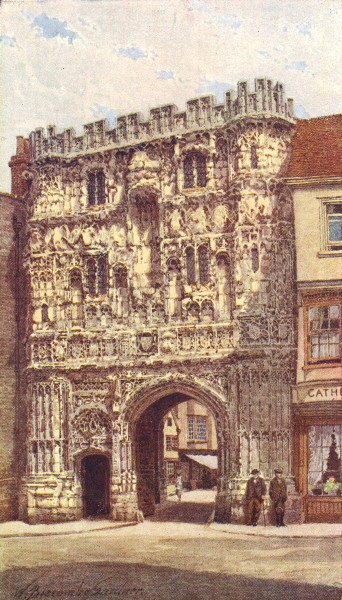 Associate Product KENT. Christ Church Gate, Canterbury 1924 old vintage print picture