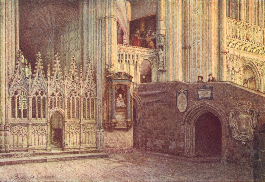 Associate Product KENT. Martyrdom, Canterbury cathedral 1924 old vintage print picture