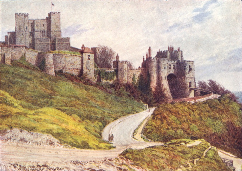 Associate Product KENT. Dover Castle from Hill 1924 old vintage print picture