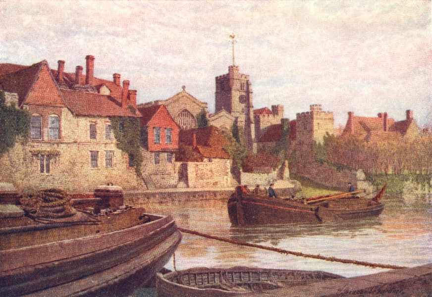 Associate Product MAIDSTONE. old palace, Church college, Medway 1924 vintage print picture