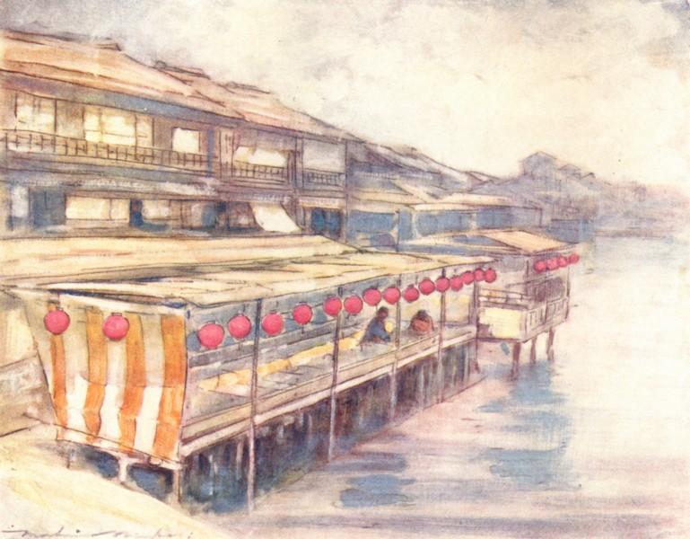 Associate Product JAPAN. Tea House, river 1904 old antique vintage print picture
