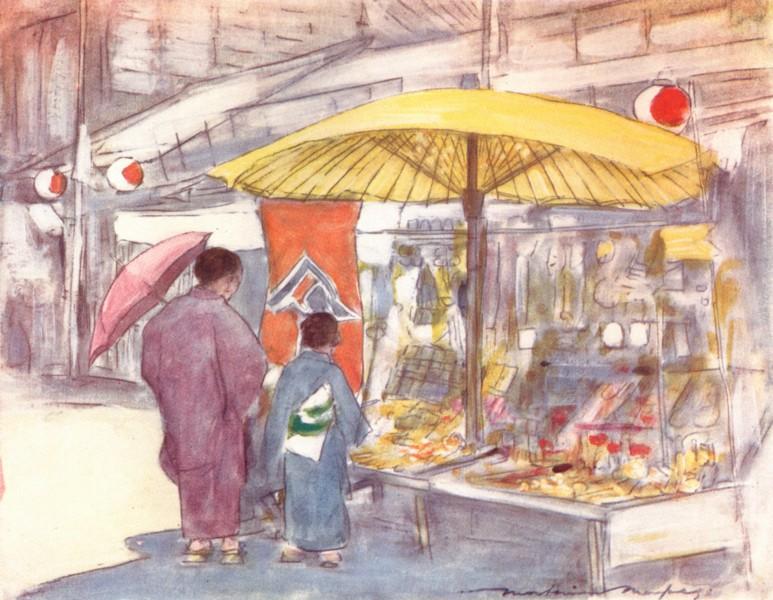 Associate Product JAPAN. Stall, bridge 1904 old antique vintage print picture