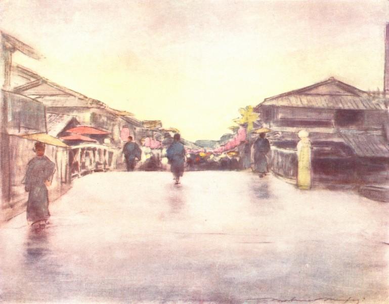 JAPAN. St of Pink Lanterns 1904 old antique vintage print picture