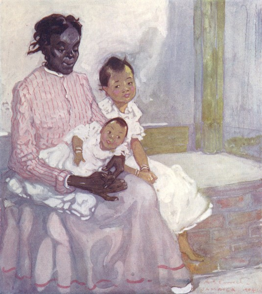 Associate Product WEST INDIES. A Negro Nurse with Chinese Children, Jamaica 1905 old print