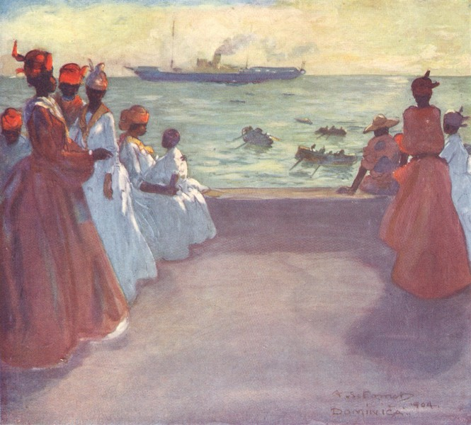 Associate Product WEST INDIES. Arrival of the Royal Mail Steamer, Dominica. Roseau 1905 print