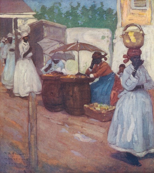 Associate Product WEST INDIES. Stalls outside the market, Mandeville, Jamaica 1905 old print