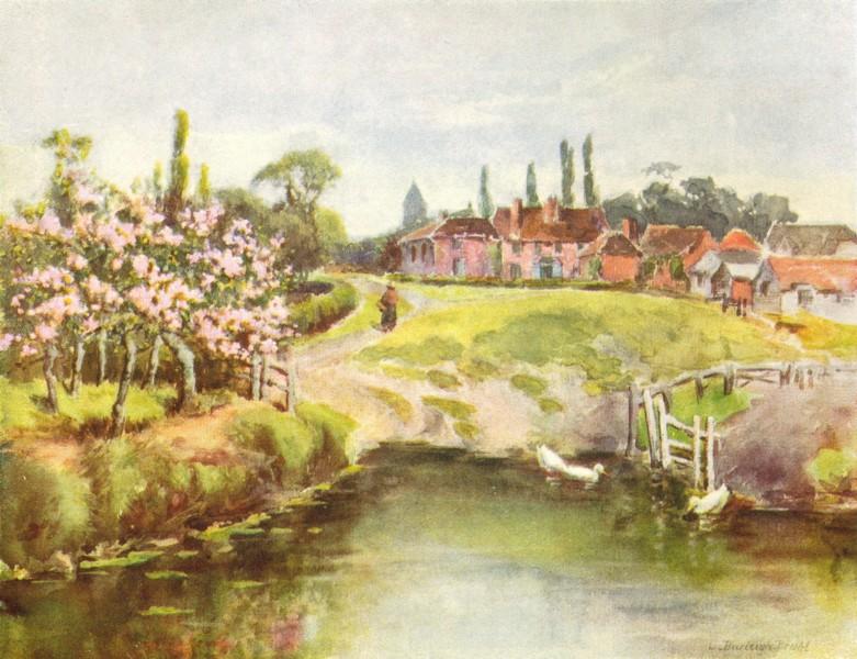 Associate Product DERBYS. Village Green, Cold Norton 1909 antique vintage print picture