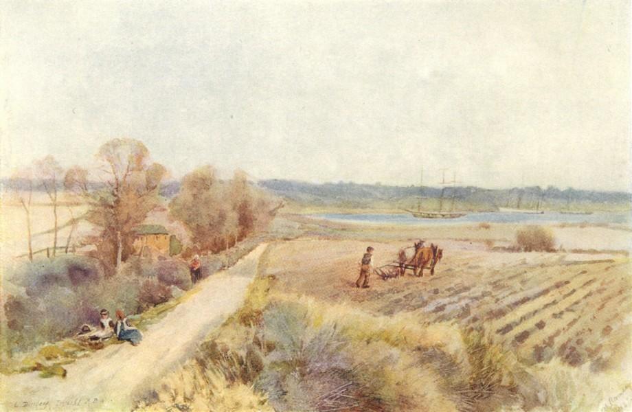 Associate Product ESSEX. Estuary of Stour 1909 old antique vintage print picture