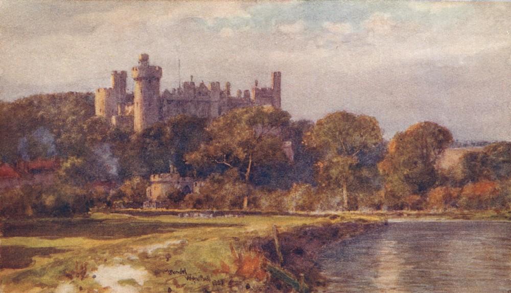 Associate Product SUSSEX. Arundel Castle(Evening) 1906 old antique vintage print picture