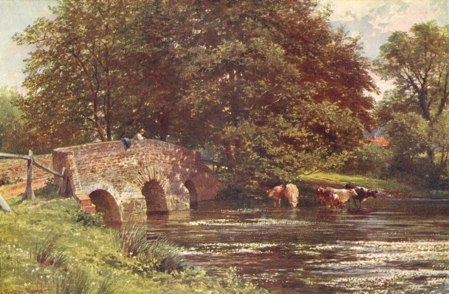 Associate Product SURREY. Wey valley. Somt bridge, Elstead 1912 old antique print picture