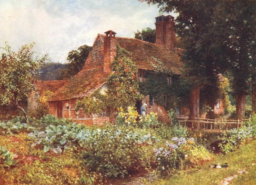 SURREY. Mill cottages, Abinger 1912 old antique vintage print picture