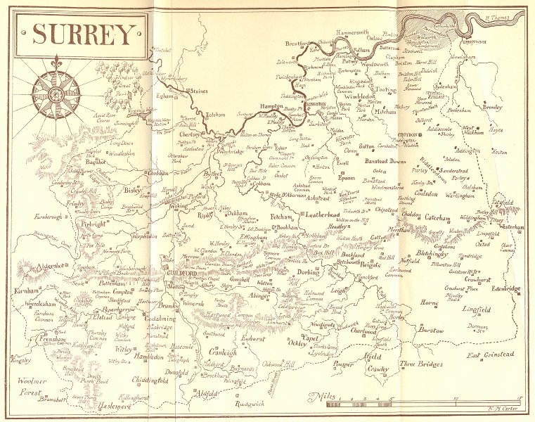 Associate Product SURREY. Sketch map 1912 old antique vintage plan chart