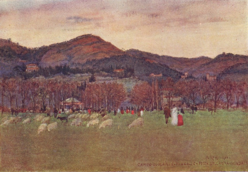 Associate Product FLORENCE FIRENZE. Campo di Marte, looking towards Fiesole & Maiano. Italy 1905