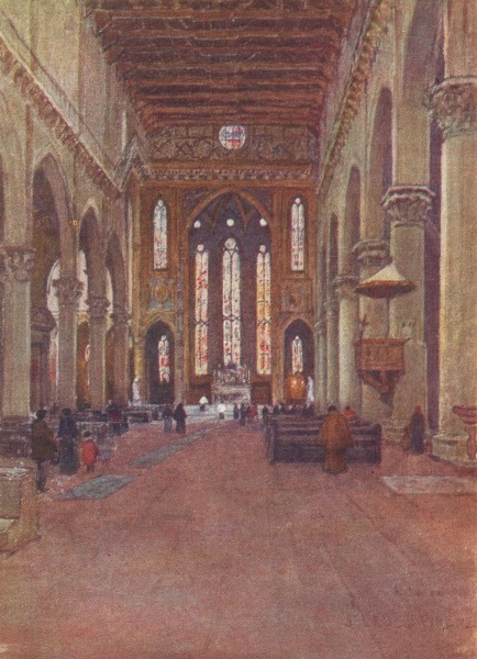 Associate Product FLORENCE FIRENZE.The Franciscan Church of Santa Croce, looking East/ Italy 1905