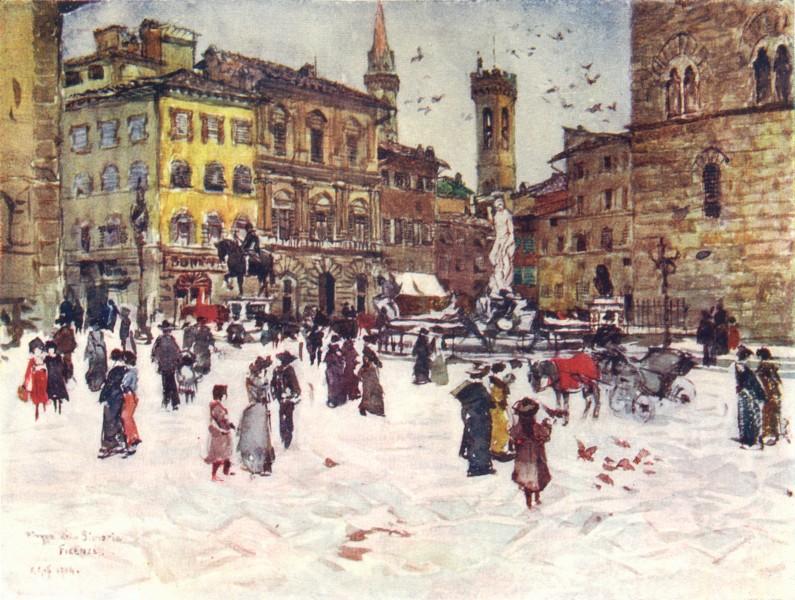 Associate Product FLORENCE. Piazza Della Signoria, Palazzo Vecchio, Bargello Towers & Badia 1905