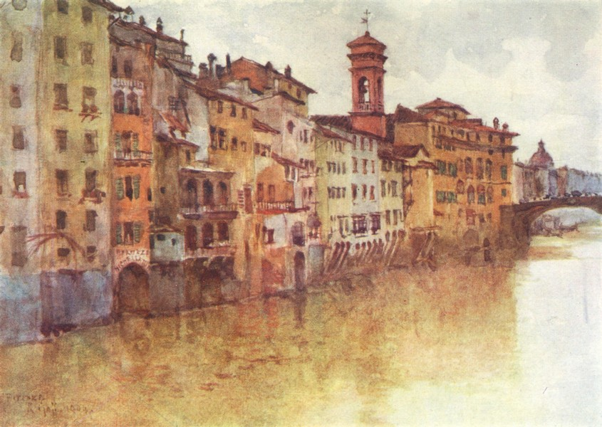 Associate Product FLORENCE FIRENZE. Houses in Borgo San Jacopo from the Arno, looking west 1905