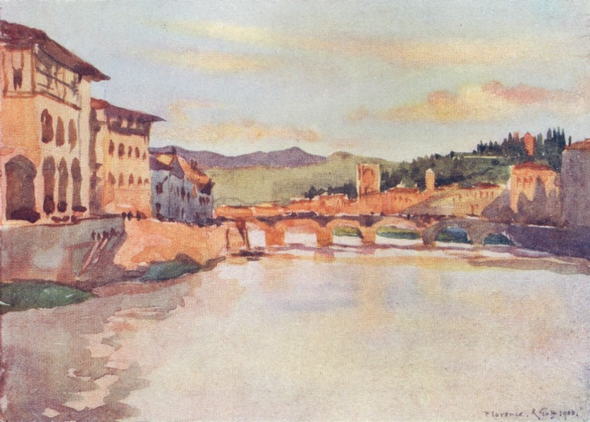 Associate Product FIRENZE FLORENCE.View from Ponte Vecchio. S. Miniato & Ponte Alle Grazie 1905