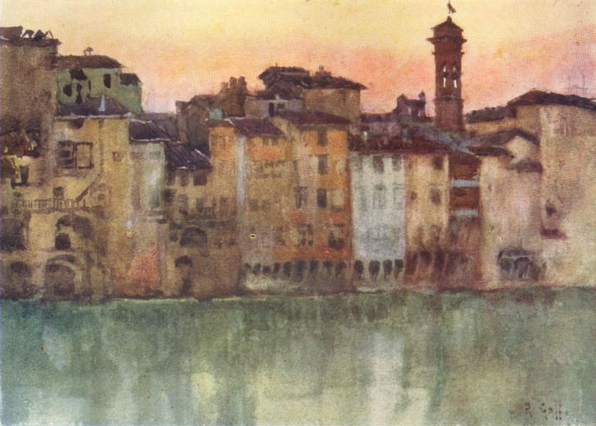 Associate Product FLORENCE FIRENZE. Old Houses on the Left Bank of the Arno, looking West 1905