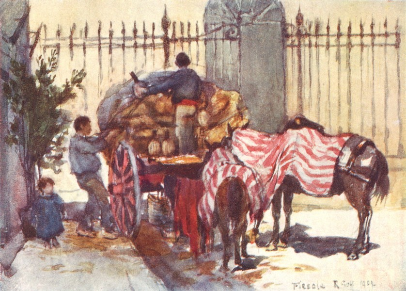 Associate Product TUSCANY TOSCANA. Loading a Cart Wine-Flasks 1905 old antique print picture