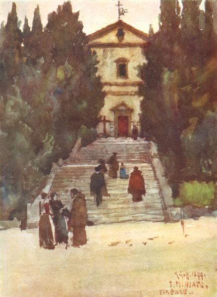 Associate Product FLORENCE FIRENZE. San Salvatore al Monte, beneath San Miniato 1905 old print