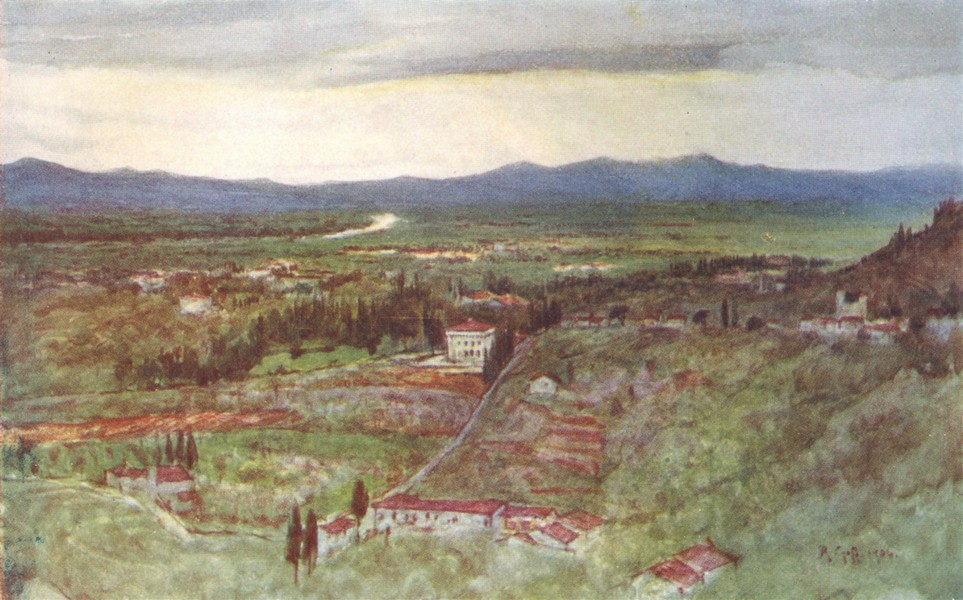 ITALY. Green Plains of Tuscany & Winding Arno 1905 old antique print picture