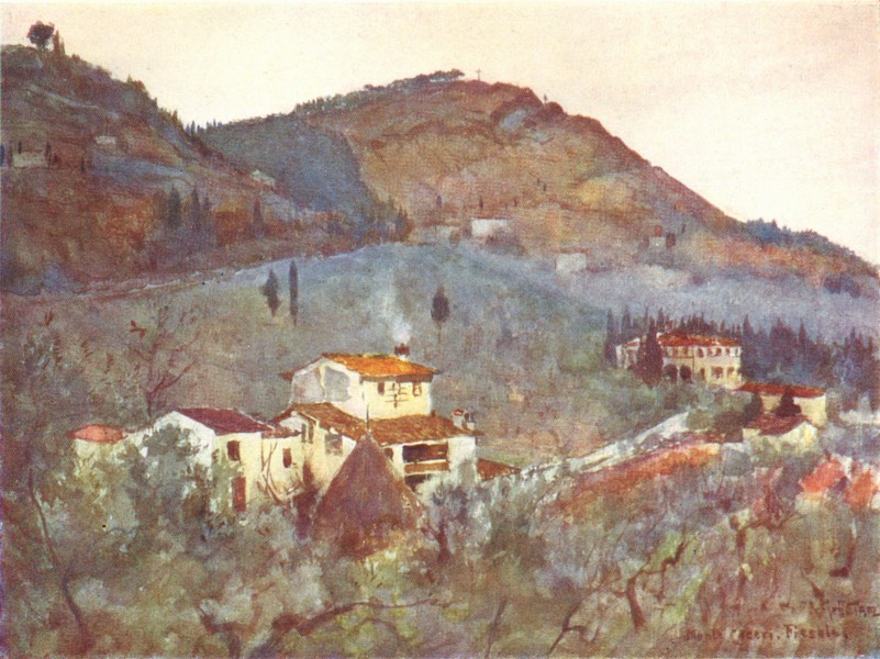 FIESOLE. Misty Morning below Monte Ceceri 1905 old antique print picture