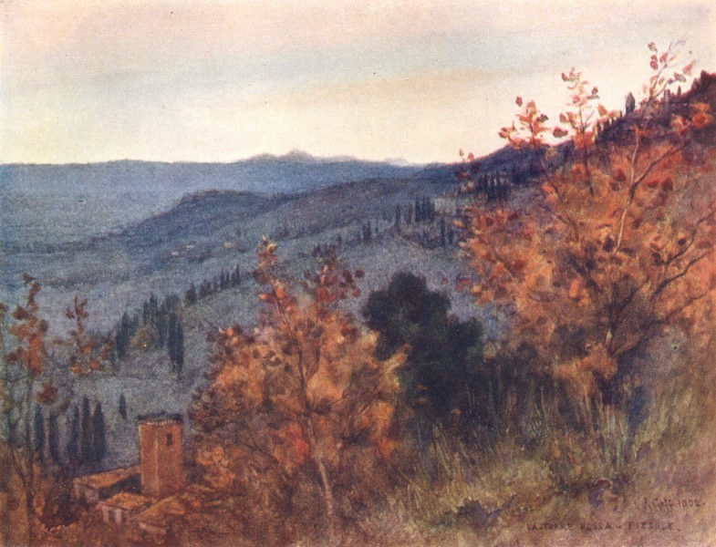 """Associate Product FIESOLE. View over the Tuscan Hills, from the """"Torre Rossa"""". Italy 1905 print"""