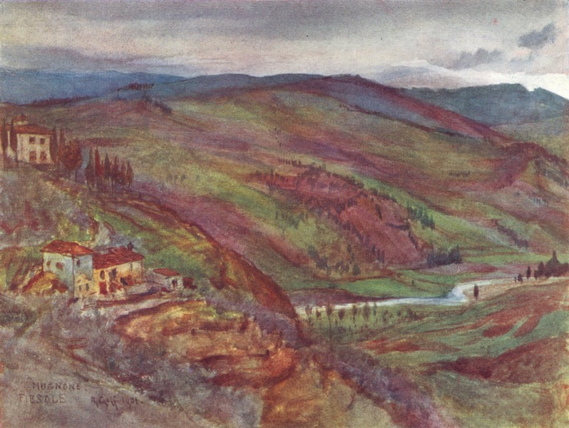 Associate Product TUSCANY TOSCANA. The valley of the Mugnone looking North to Monte Senario 1905