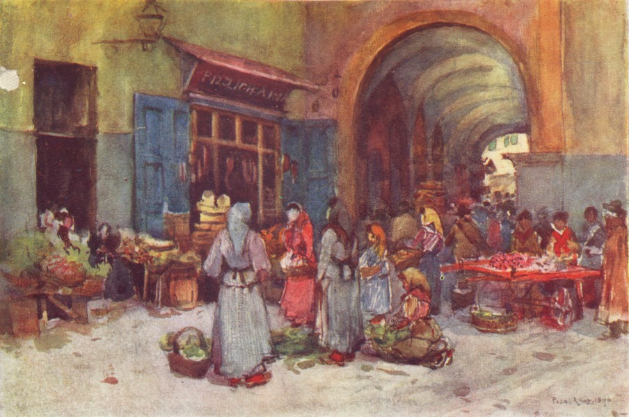 Associate Product PISA. Street sellers. Italy 1905 old antique vintage print picture