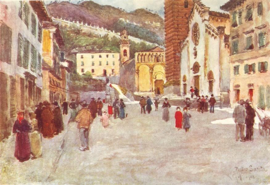 VIAREGGIO. The Piazza at Pietra Santa. Italy 1905 old antique print picture