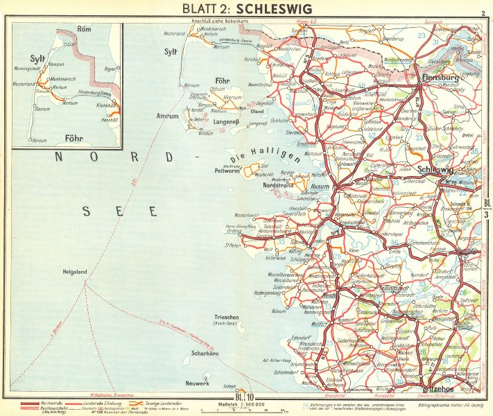 Associate Product GERMANY. Schleswig 1936 old vintage map plan chart