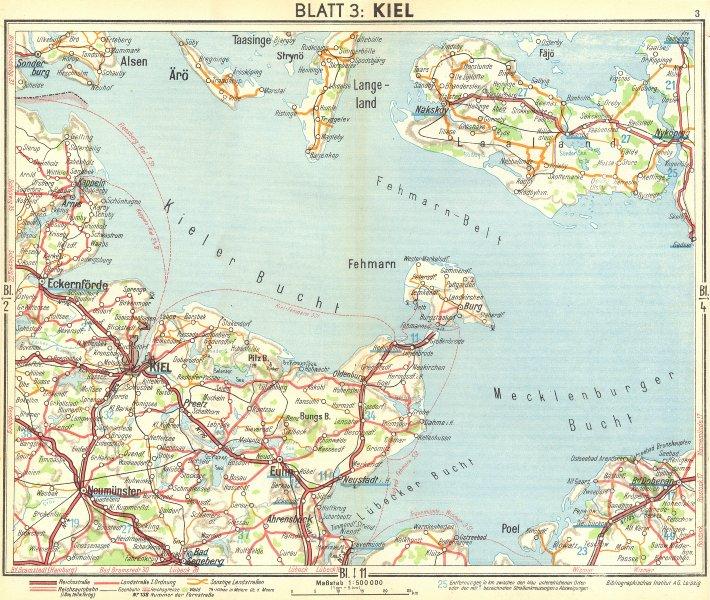 Associate Product GERMANY. Kiel 1936 old vintage map plan chart