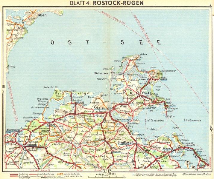 Associate Product GERMANY. Rostock Rügen 1936 old vintage map plan chart
