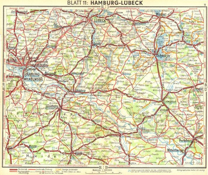 Associate Product GERMANY. Hamburg-Lubeck 1936 old vintage map plan chart