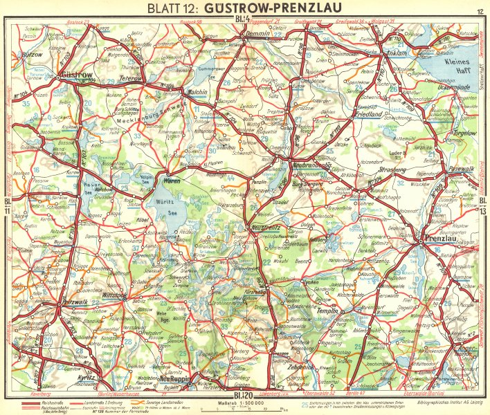 Associate Product GERMANY. Gustrow-Prenzlau 1936 old vintage map plan chart