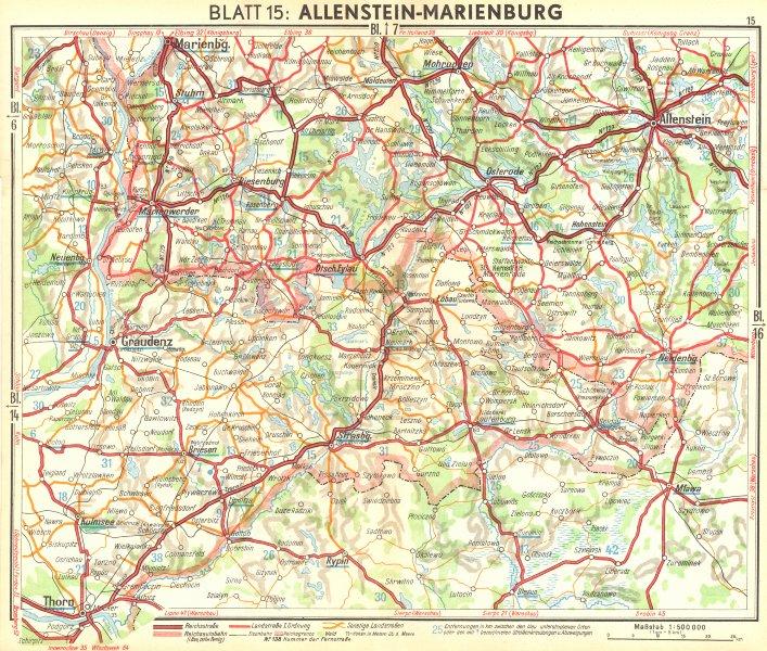 Associate Product GERMANY. Allenstein-Marienburg 1936 old vintage map plan chart