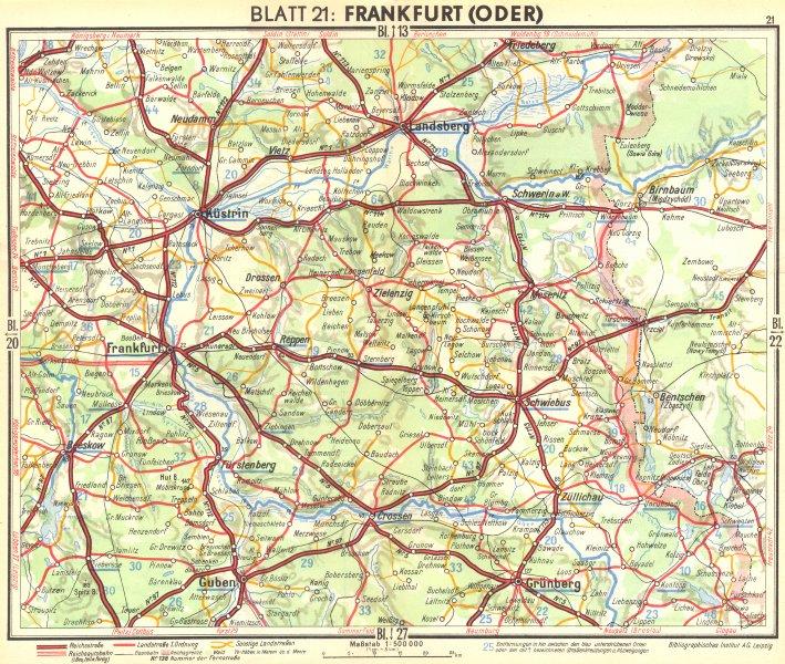 Associate Product GERMANY. Frankfurt(Oder) 1936 old vintage map plan chart