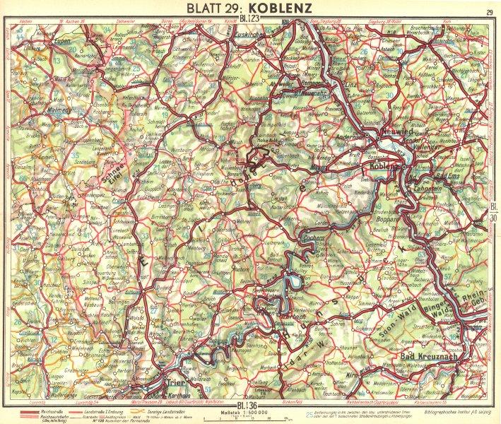 Associate Product GERMANY. Koblenz 1936 old vintage map plan chart