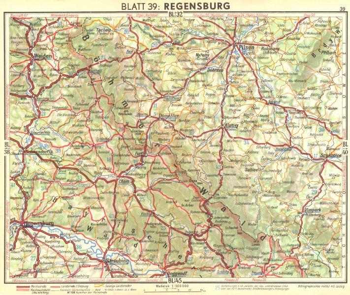 Associate Product GERMANY. Regensburg 1936 old vintage map plan chart