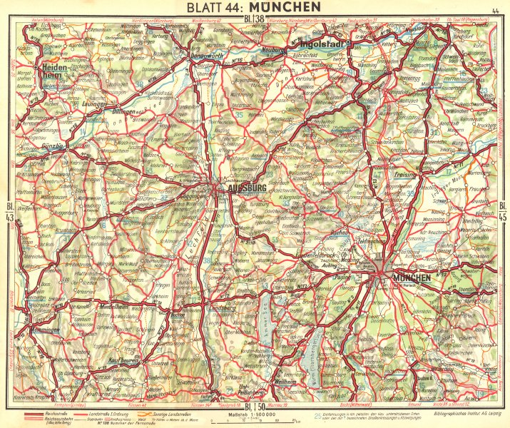 GERMANY. Munchen 1936 old vintage map plan chart